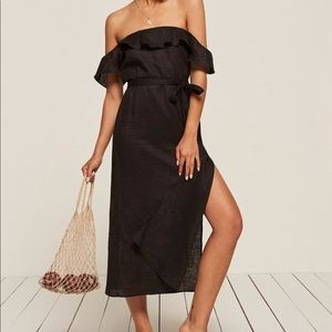 Reformation off the shoulder linen dress